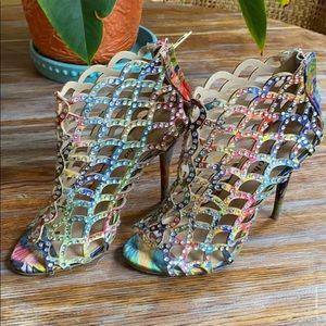 Multicolor Cutout Heels with Rhinestones Zigi Soho
